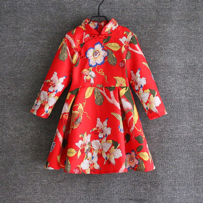 Spring Mom Daughter Dress Family Matching Outfits Mother girl Chinese style stand collar full sleeve Dress Mother & Kids Clothes spring family matching outfits children clothes long sleeve jacquard mom kids girl dress mother daughter red tropical fish dress
