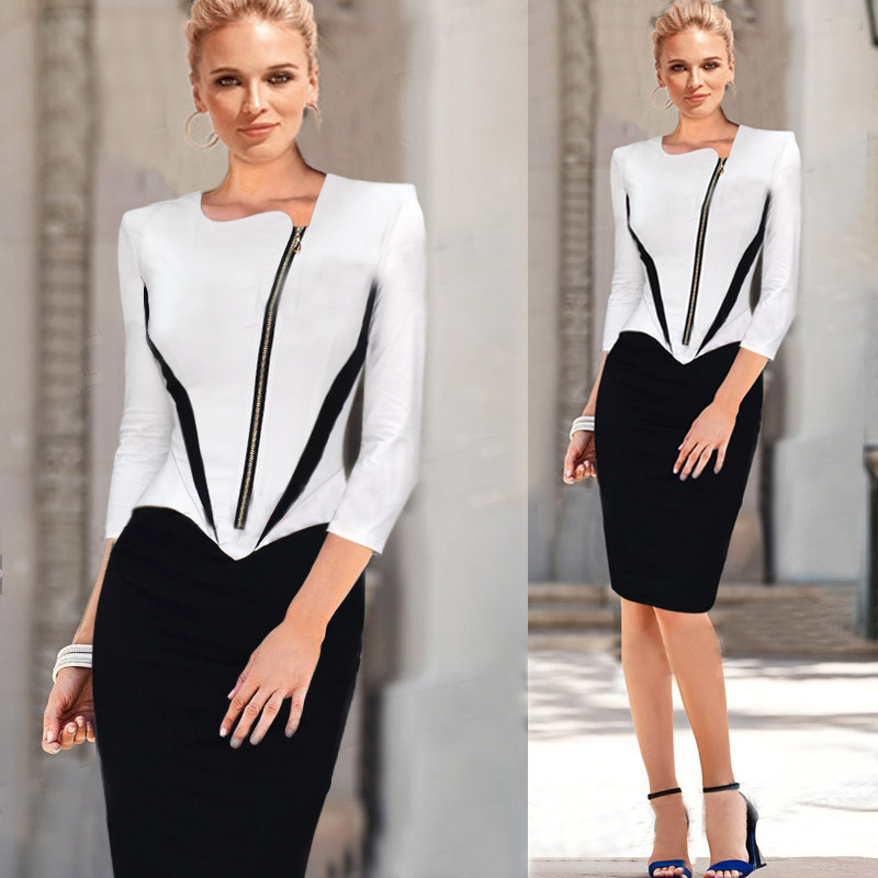 2016 Ladies Elegant Long Sleeve Black and White Dress Pencil Women Formal Dresses for Work Party Tunic Office Bodycon formal wear
