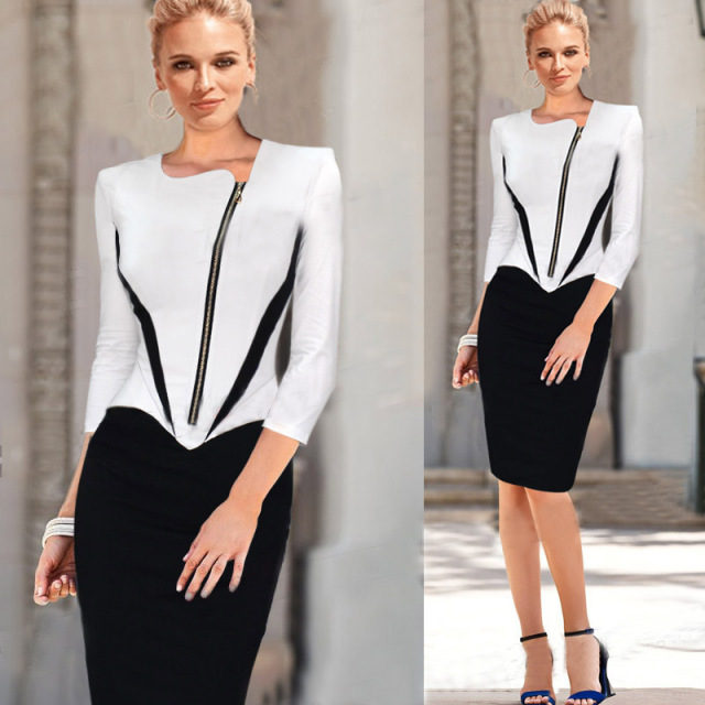 2018 Ladies Elegant Long Sleeve Black And White Dress Pencil Women
