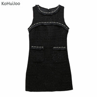 KoHuiJoo 2018 Women Winter Dress Heavy Beading Pockets Slim Sleeveless Tweed Dress White Black Pearls Wool