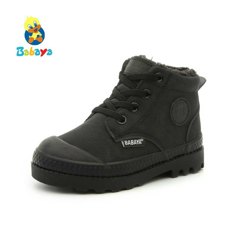 Children Martin Boots Artificial Leather Shoes Girls 2018 Winter New Boys Kids Boots Keep Warm Winter Shoes Snowfield Boots
