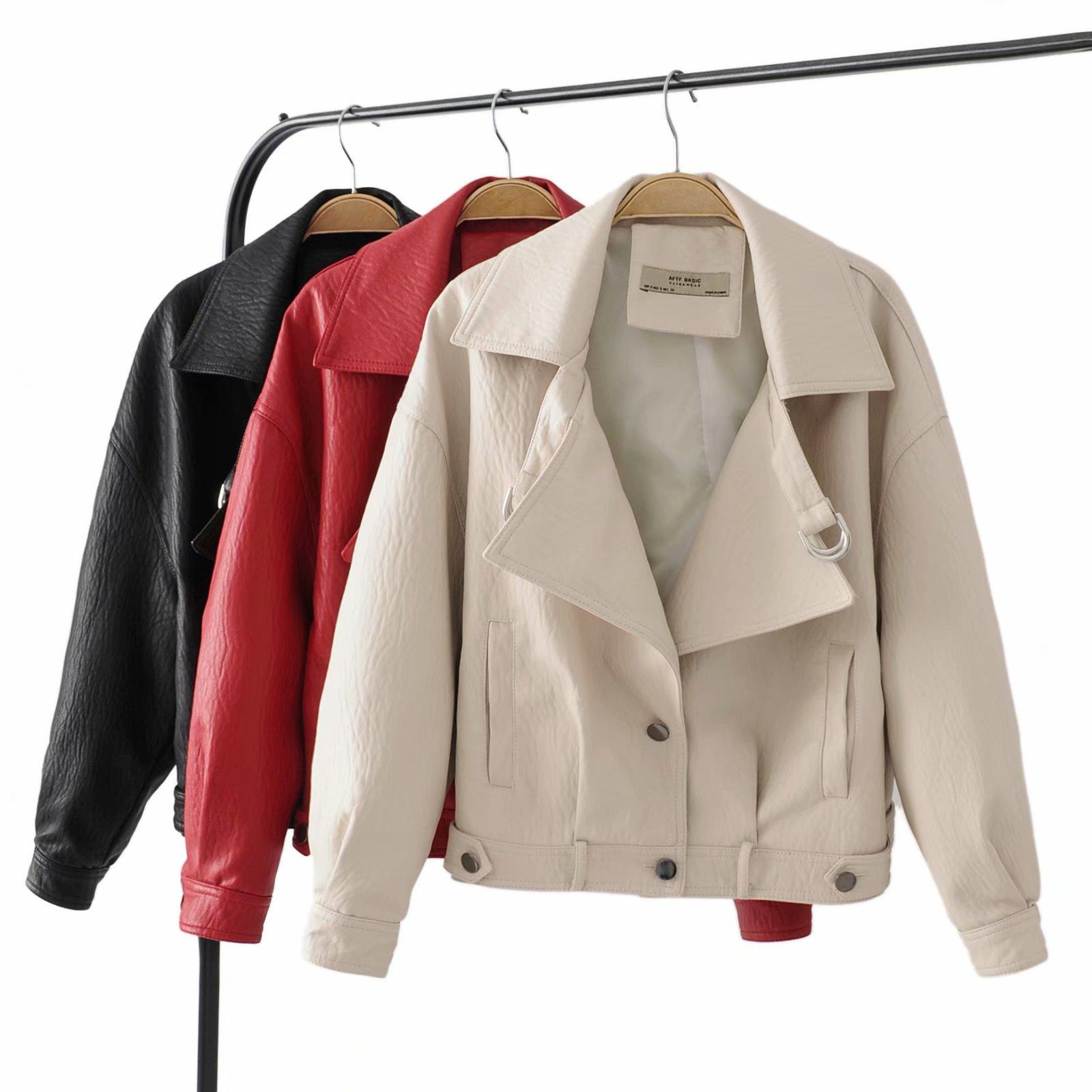 En Vestes Automne Nouveau Souple Rivet Noir Cuir Veste Moto Pu Bouton rouge Faux blanc Mince 2018 Manteau Design 4xBpAwwX