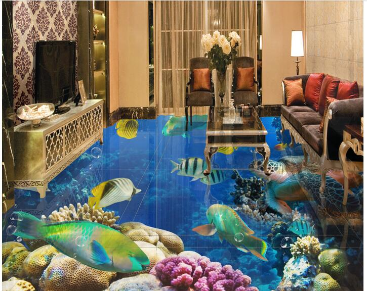 3d pvc flooring custom photo mural picture Coral sea world fish decoration painting children room wallpaper for walls 3d custom baby wallpaper snow white and the seven dwarfs bedroom for the children s room mural backdrop stereoscopic 3d