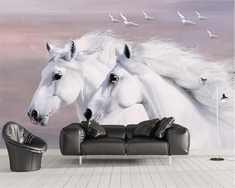 Beibehang Europäischen stil handgemalte weiß paar pferde fliegende vögel TV  hintergrund tapete raum studie wandbilder 3d