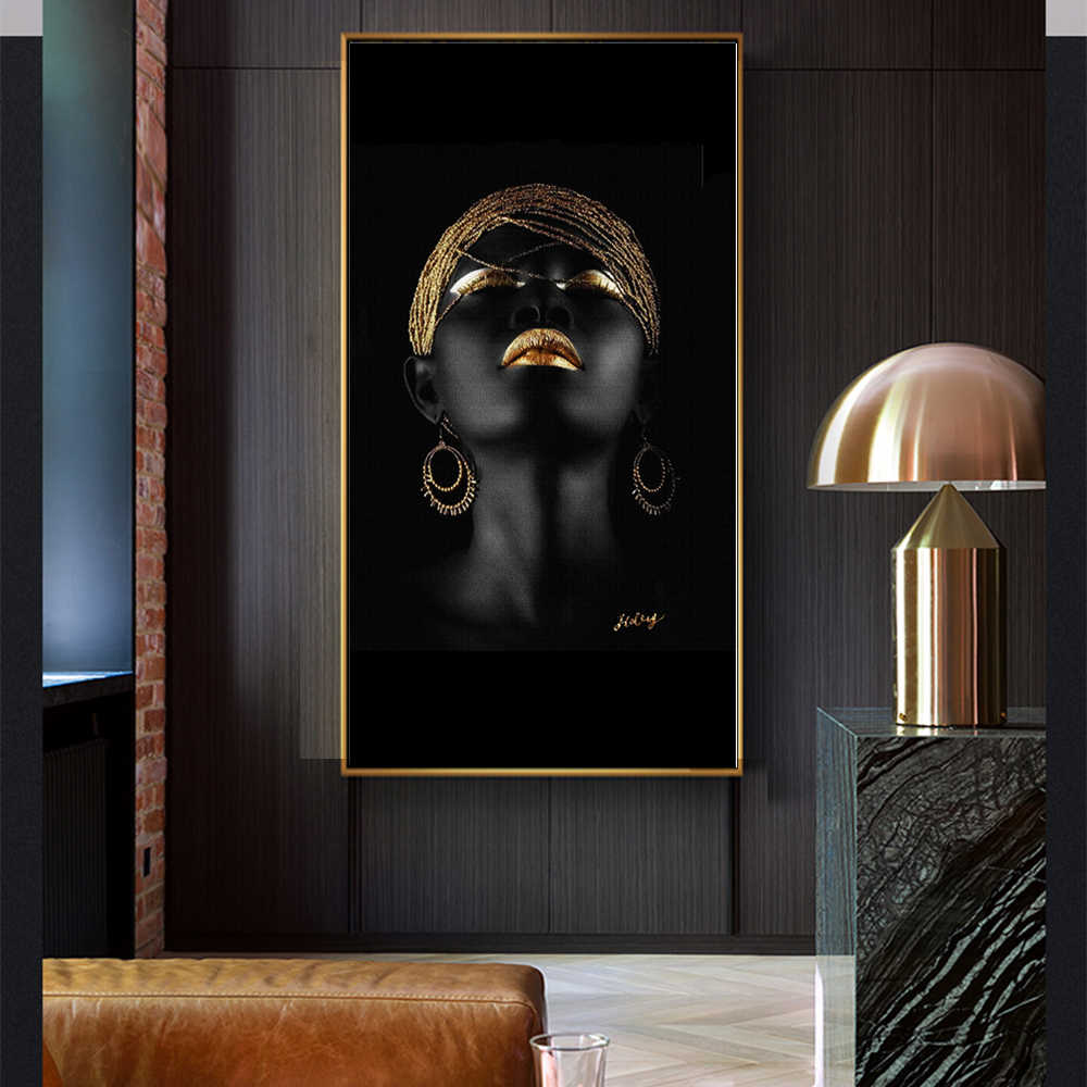 WANGART Larger Size Canvas Painting Wall Art Pictures Prints Black Woman Wall Art For Living Room Home Decor Posters and Prints