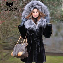 Slim Winter Tops Real Fur From Nature Rex Rabbit Fur Coat Overcoats With Silver Fox Hood Oversized Red Fox Jacket For Women 2018