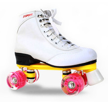 Roller Skates White Genuine Leather With Led Lighting Wheels Double Line Skates Adult 4 Wheels Two line Roller Skating Shoes