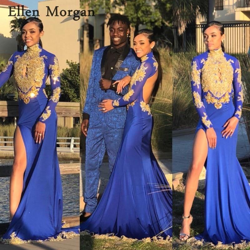 Royal Blue Long Sleeves Mermaid Prom Dresses 2018 For African Black