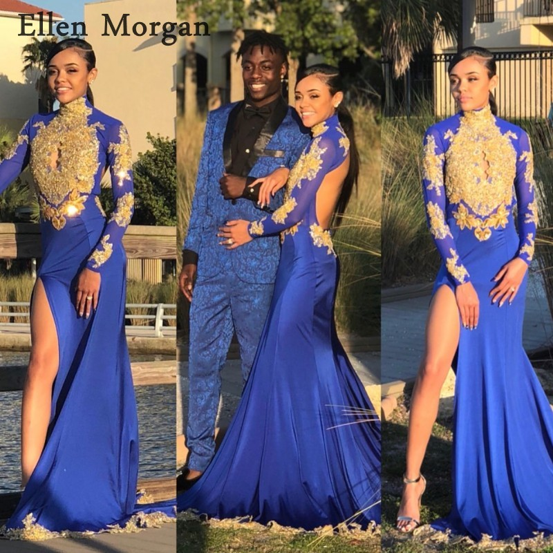 Royal Blue Long Sleeves Mermaid   Prom     Dresses   2019 for African Black Girls Gold Lace High Neck Backless for Sexy Party Gowns