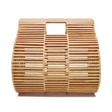 handbags women bamboo top handle bags female causal totes small hollow summer beach bags for ladies and girls wood 2019 недорого