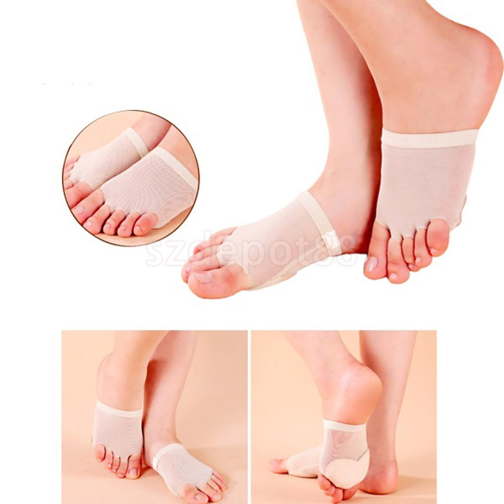 Belly/Ballet Dance 5-Hole Toe Paws Pad Foot Thong Protection Socks Forefoot Cover Pain Relief Socks L/M/S