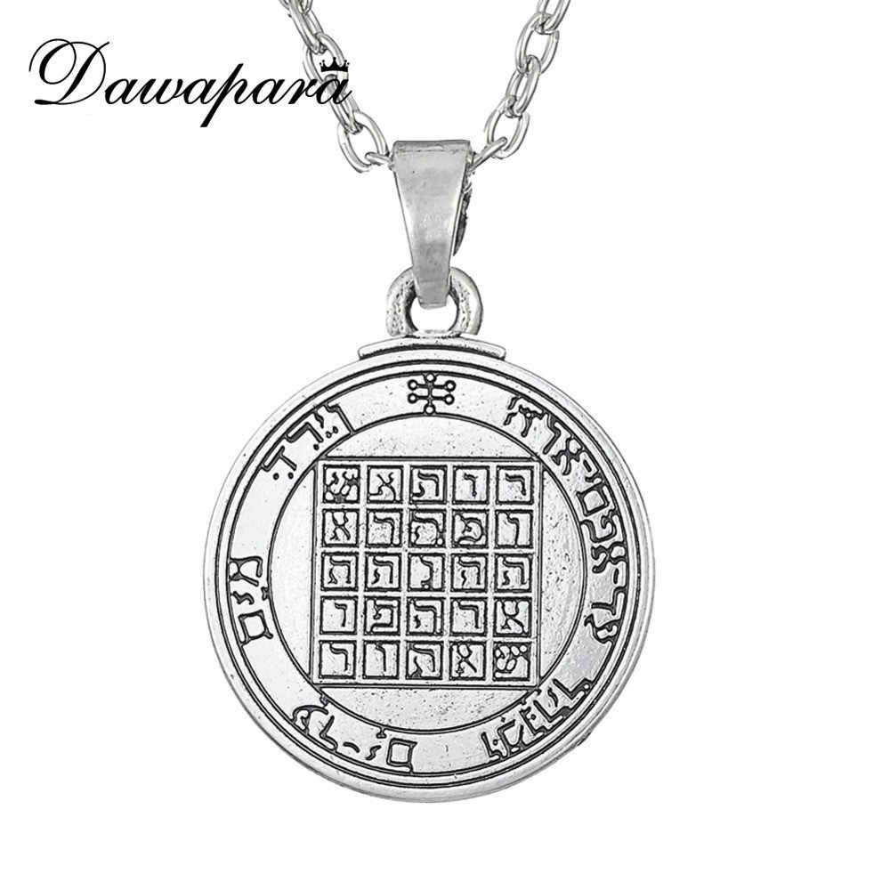 Dawapara Pentacle Of Saturn Talisman Key Of Solomon Seal Pendant Mens Necklace Vintage Punk
