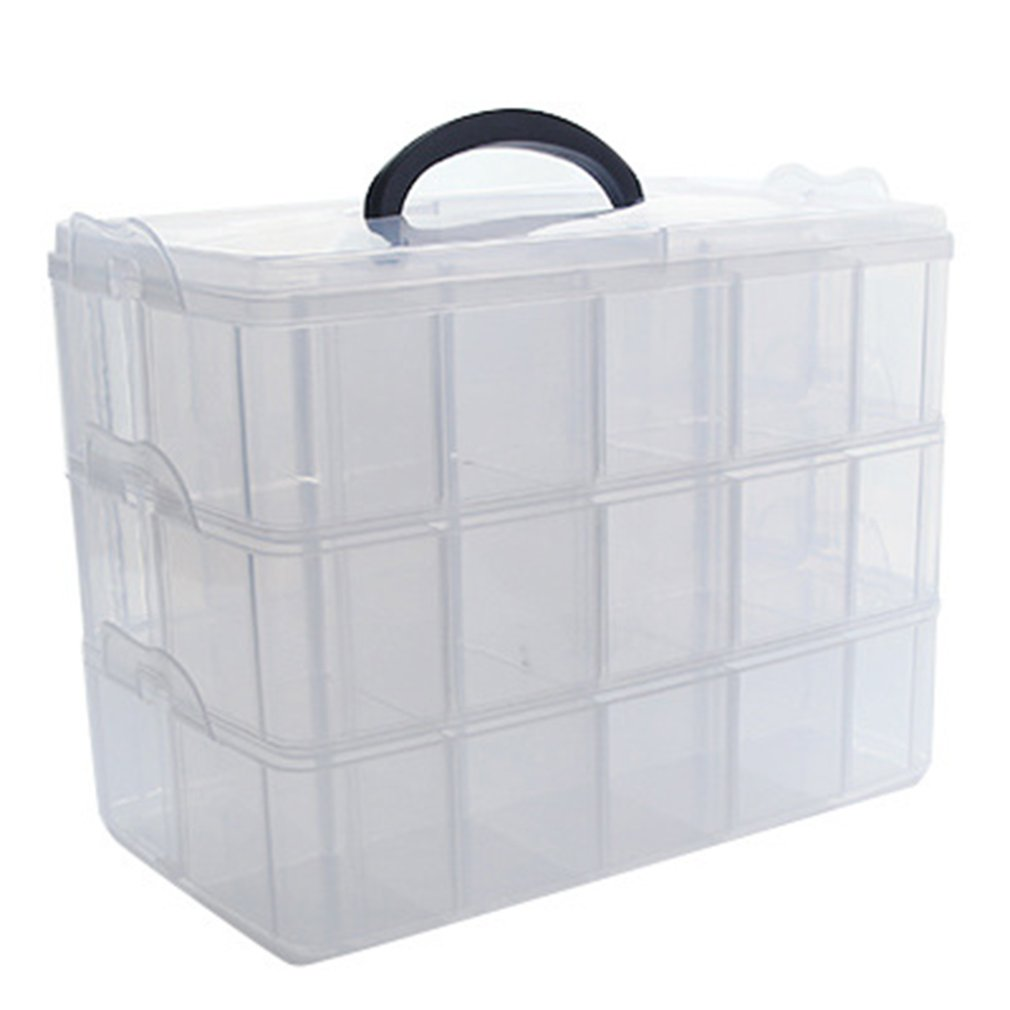 Foldable Three-layer Tape Transparent Storage Box Separate Tape Stickers Tool Box Transparent Plastic Office Organizer