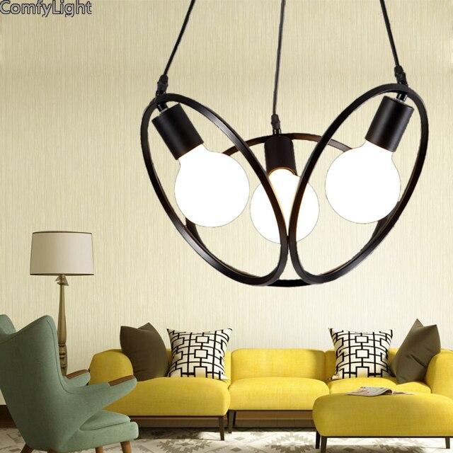 Modernas luces colgantes de hierro negro mundo pantalla lámpara ...