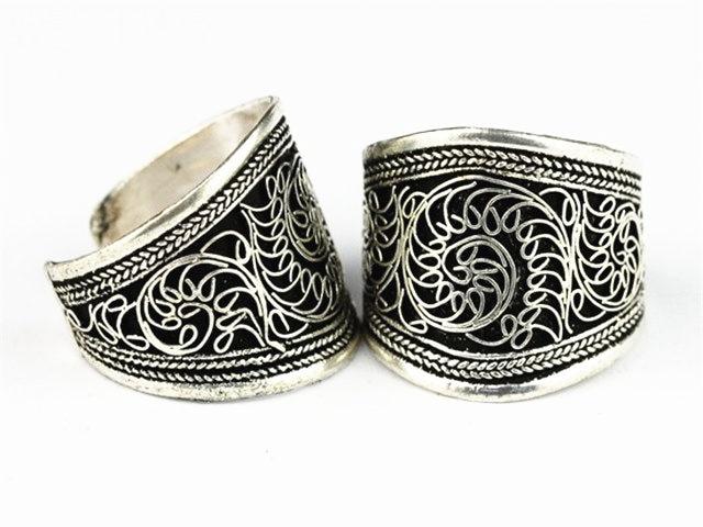 R063 Tibetan silver Vintage Rings for Man Nepal Antiqued Flower Silk Open Ring Wholesale Tibet Tribal Jewelry