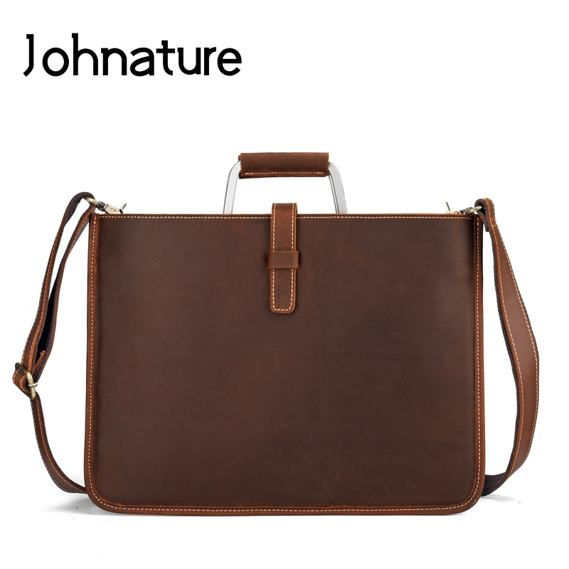 Johnature 2019 New Mens Business Bag Genuine Leather Solid Bag Soft Leather Briefcase Male Handbags&Crossbody Bags 15 Inches