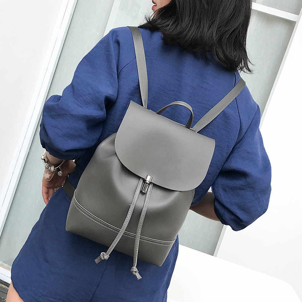 موضة خمر لون نقي جلد ببساطة حقيبة مدرسية على ظهره حقيبة المرأة Trave حقيبة كتف mochila الأنثوية # P