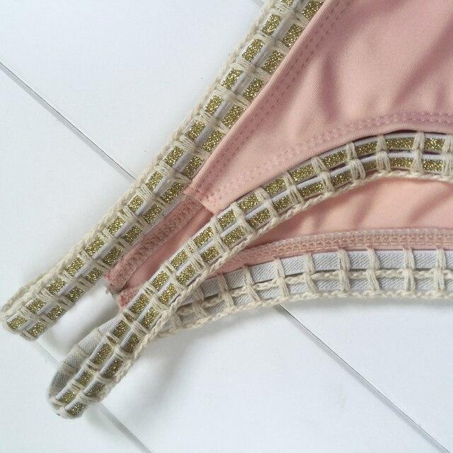 Sexy Women Bandage Lace Crochet Triangle Bikini Set Push Up Bra Swimwear Swimsuit Hot Bath Biquini Pink Two-Piece Suits 8
