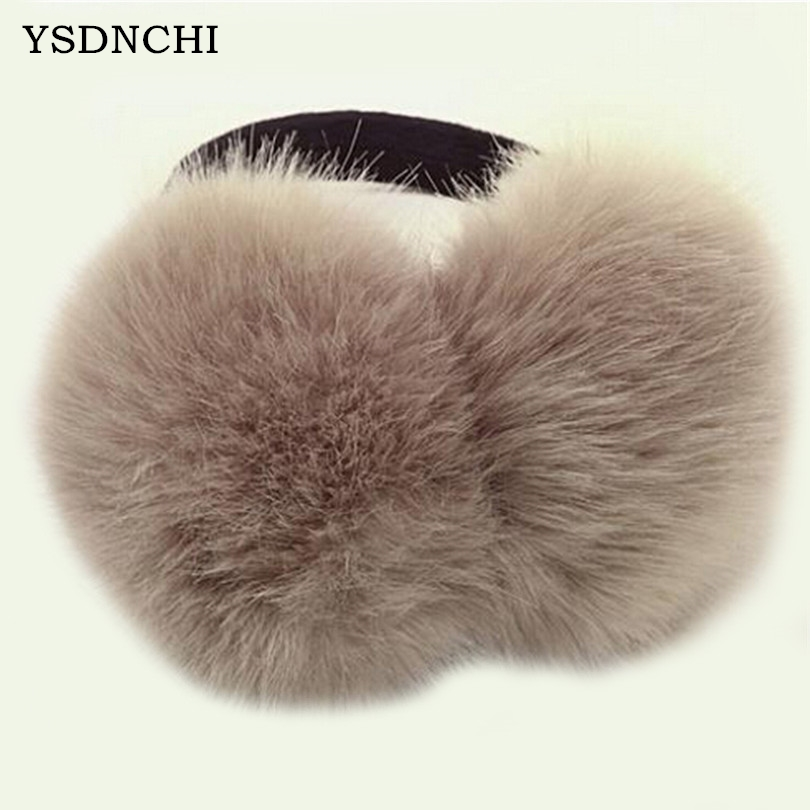 YSDNCHI Gesign Elegant Women's Unisex Earmuffs Female Faux Rabbit Fur Warm Winter Super Quality Wool Able Adjust Size Earmuffs