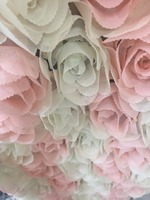 Peach +ivory Rosette Fabric, Baby Photography Prop Backdrop Blanket, Wedding Decors, Bridal fabric, chiffon rosette fabric