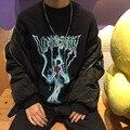 NYOOLO Novidade Harajuku tops hip hop streetwear relâmpago crânio letras imprimir pulôveres de lã Camisola mulheres/homens roupas