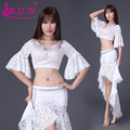 B.u.w Top Fashion Lycra Brand 2016 New Women Belly Dance Costumes Performance Top+skirt Suits For Oriental Costume 8075