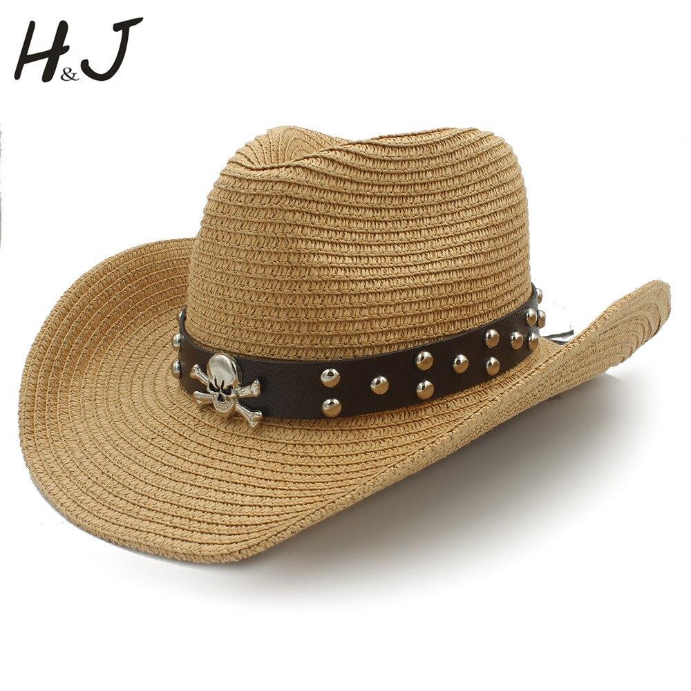 Women Men Straw Western Cowboy Hats With Roll Up Brim Lady Gentleman Summer Beach Cowgirl Sombrero Hombre Sun Cap Size 56-58CM