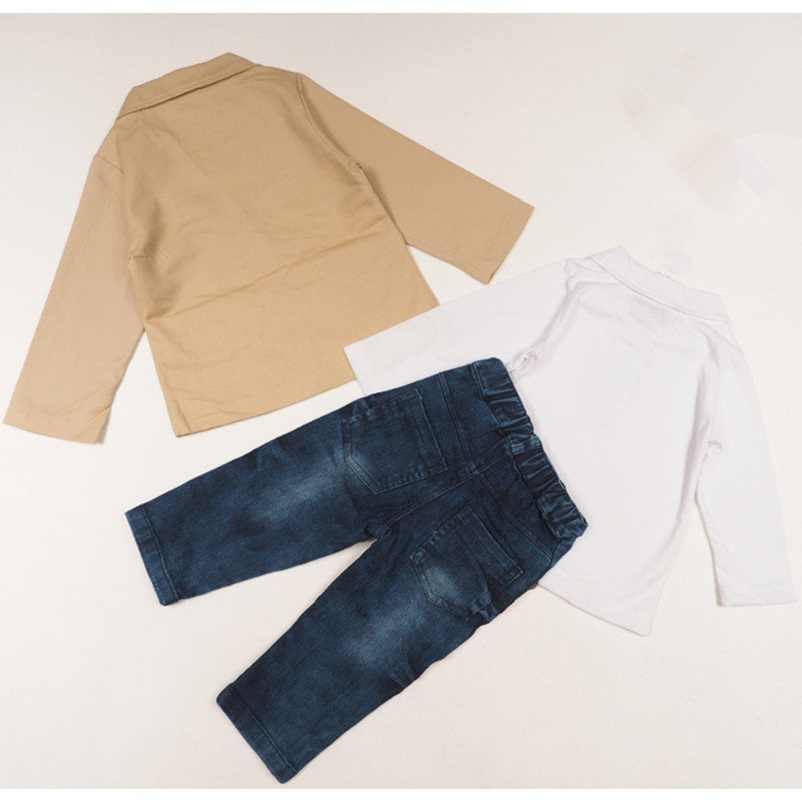 1a47d6056a Baby Boys Clothing Sets Fashion Gentleman boy clothes jacket + T-shirt  +Jeans 3Pcs/Set 2 3 4 5 6 7 8 Years Children cssual sets
