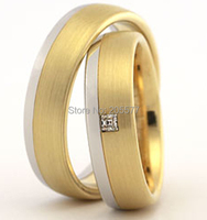 Luxury custom jewelry yellow gold plating two tone Matching wedding bands engagement rings sets jewelry for men and women