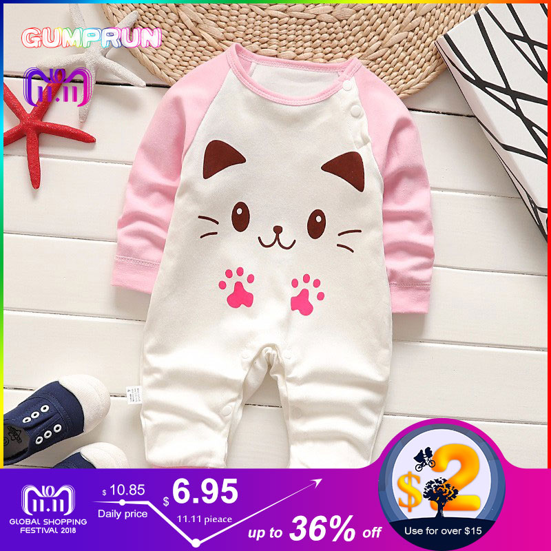 Baby Girl Warm Romper Cotton Soft baby long sleeve romper Cartoon Print Children's Clothing Winter baby girl winter jumpsuit cute baby elephant print romper baby boy girl clothing newborn cotton long sleeve romper jumpsuit 2017 new baby clothing outfits