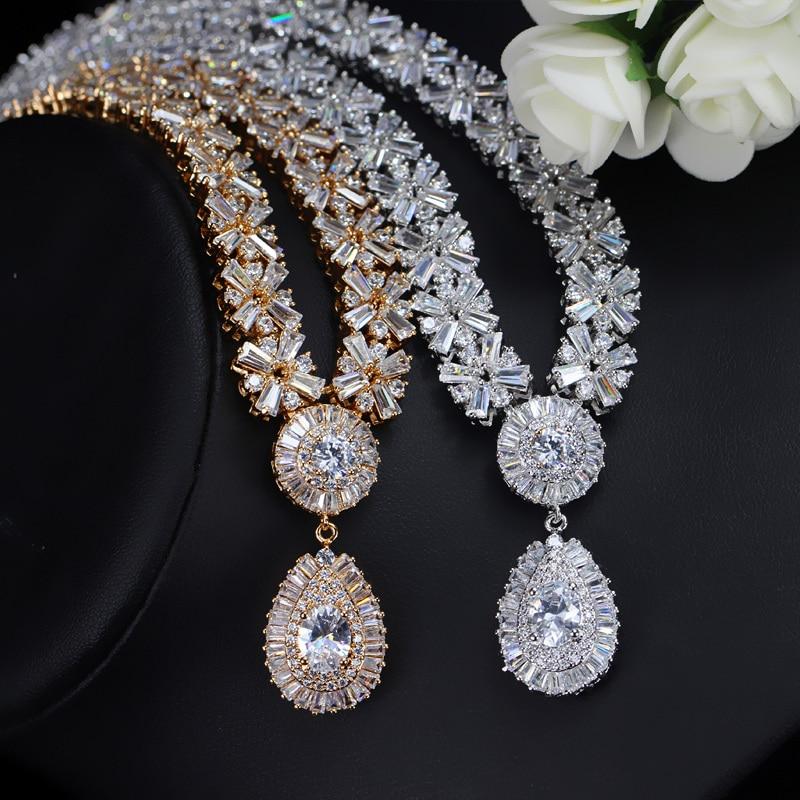 CWWZircons Collar de oro blanco nupcial de lujo CZ Crystal y conjunto - Bisutería - foto 2