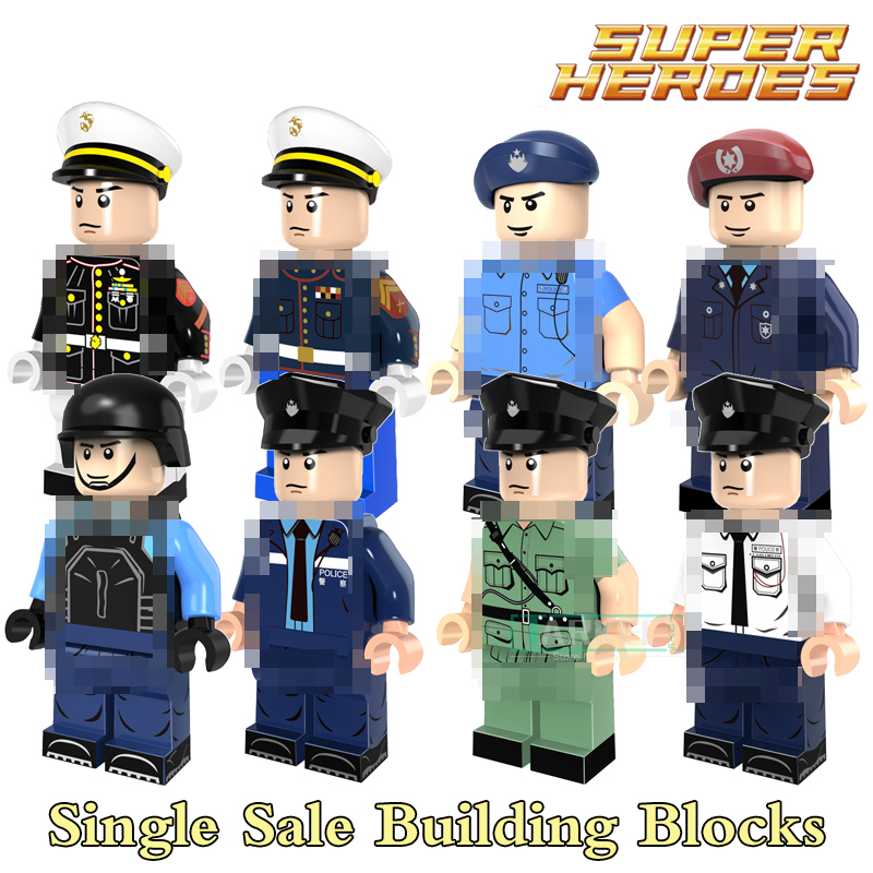 Building Blocks Special Duties Unit Marine Corps Police Policeman Superhero Figures Starwars Bricks Kids DIY Toys PG8062 Models
