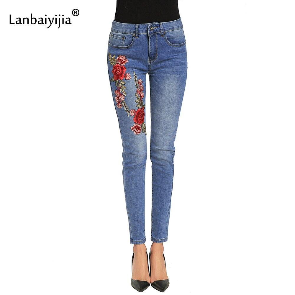 Lanbaiyijia Вышивка красные цветы Для женщин Джинсы для женщин беленой карман узкие брюки карандаш середины талии Джинсы для женщин для Для женщ