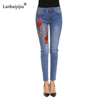 Lanbaiyijia Embroidery Red Flowers Women Jeans Bleached Pocket Skinny Pencil Pants Mid Waist Jeans For Women