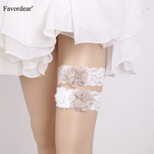 Favordear Women White Lace Three Flowers Wedding Garter 2 PC Beading Pearls Elastic Band Fashion Stocking Bridal Garter(China)