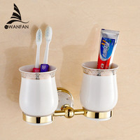 New Modern Accessories Luxury European Style Golden Copper Toothbrush Tumbler Cup Holder Wall Mount Bath Product