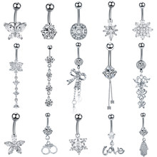 9a9571d11 1PC Stainless Steel Crystal Navel Button Piercings Gem Nombril Belly Bars  Sexy Ombligo Piercings Dangle Earring Piercing Jewelry