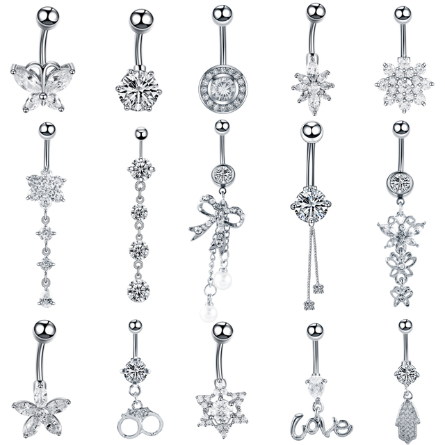 1PC Stainless Steel Crystal Navel Button Piercings Gem Nombril Belly Bars Sexy Ombligo Piercings Dangle Earring Piercing Jewelry