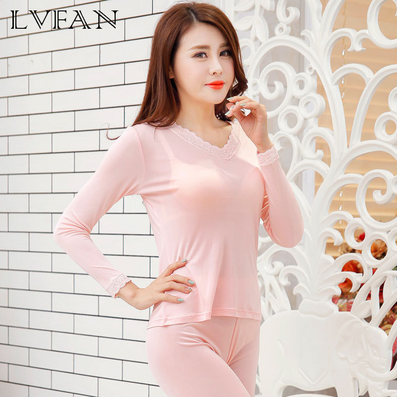 Silk Women's Knit Lace V-neck Thermal Underwear Set Bottom Sleepwear Long Johns Health Intimates Long Sleeve Sleep Wear Cueca