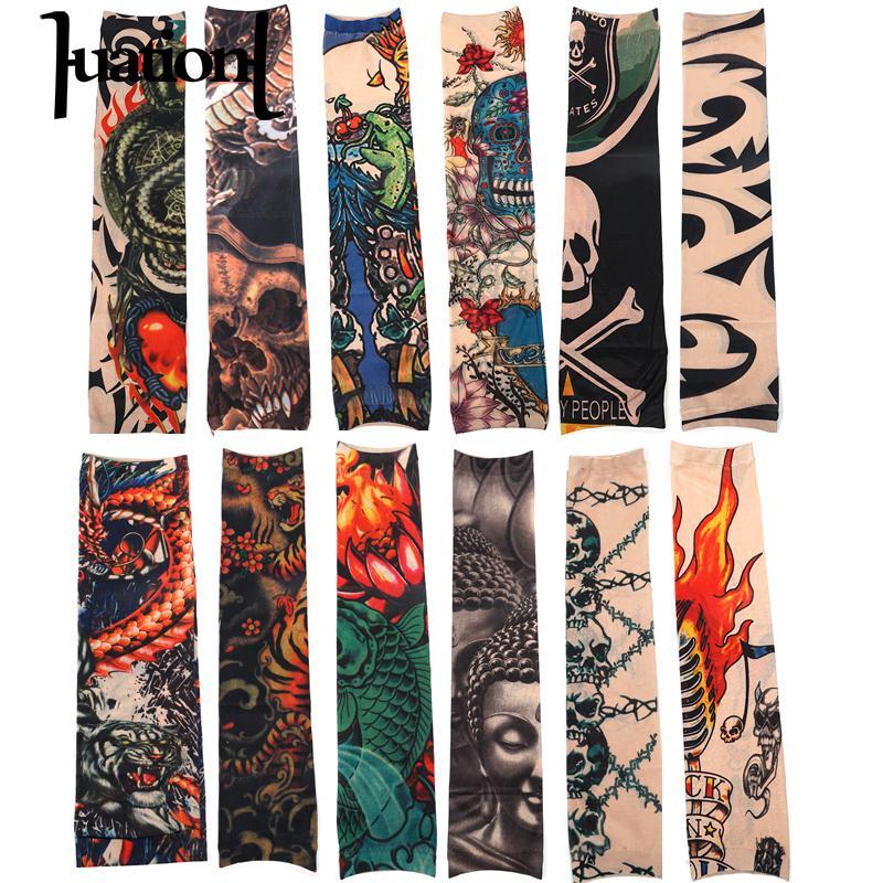 Huation 12pcs/set Temporary Tattoo Sleeves Men Print Nylon Arm Stockings Women Outside Hiking Riding Anti Sun Tattoo Sleeve 2019 Men's Arm Warmers