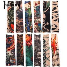 Huation 12pcs/Set Temporary Tattoo Sleeves Men Print Nylon Arm Stockings Women Outside Hiking Riding Anti Sun Tattoo Sleeve 2018