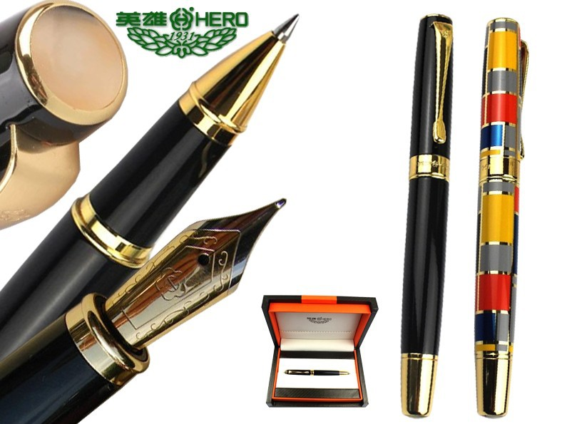 8pcs/lot Original box  Fountain pen Black or RollerBall pen colorful pane to choose HERO 767 standard pens Free Express Shipping 8pcs lot wholesale fountain pen black m 14 k solid gold nib or rollerball pen picasso 89 big executive stationery free shipping