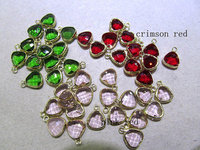 Crystal Glass Gem&Brass Plated, High quality 50pcs 8 10mm Freeform Triangle Crimsone red pink green assortment Findings single