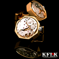 KFLK jewelry shirt cufflins for mens Brand cuff button Gold color watch movement cufflink High Quality abotoadura Jewelry