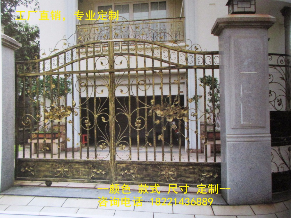 Custom Made Wrought Iron Gates Designs Whole Sale Wrought Iron Gates Metal Gates Steel Gates Hc-g83