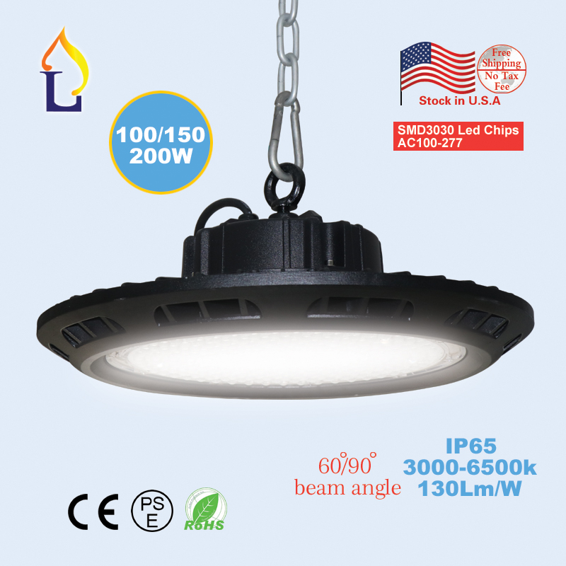 USA in stock led UFO high bay light 100W 150W 200W Industrial light led flood light waterproof ip65 outdoor lighting 5pcs/lot brightinwd ufo high bay light 100w 150w 200w smd2835 high power led floodlight for factory warehouse machine lamp