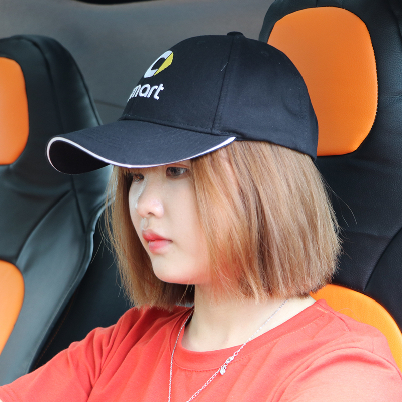 Summer breathable sunhat Smart LOGO embroidery badge baseball cap Suitable for ladies and men Black sun hat Adjustable size