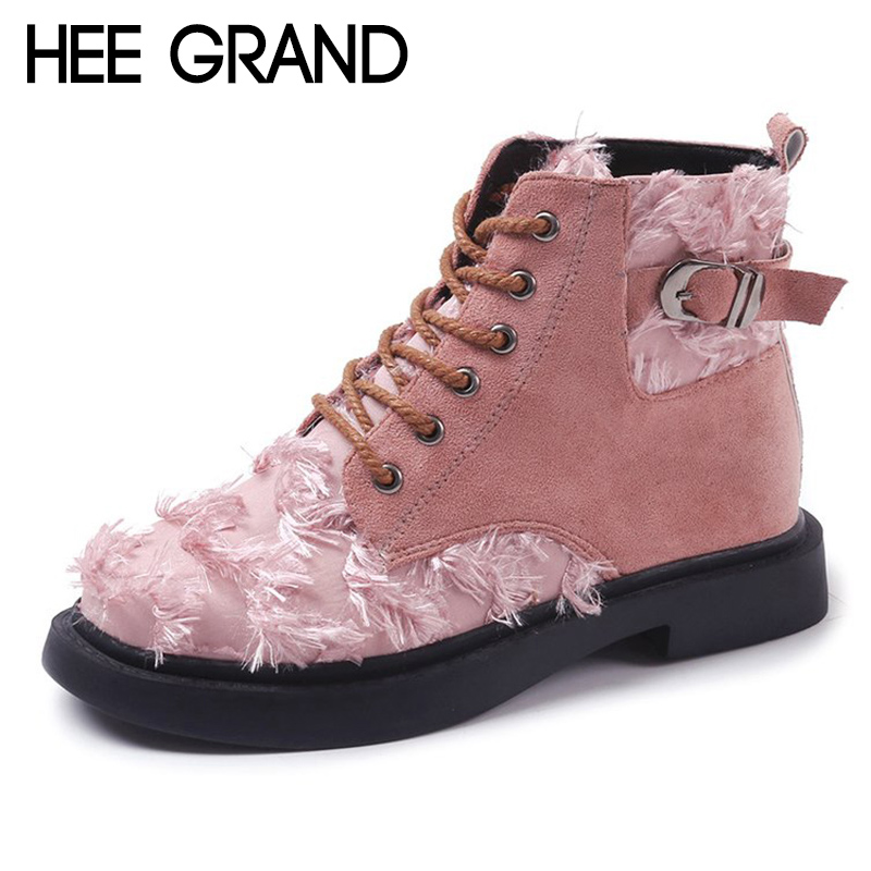 HEE GRAND 2018 New Women Fashion Boots Lace-up Winter Shoes with Buckle PU Leather Ankle Boots Mujer Shoes XWX6872