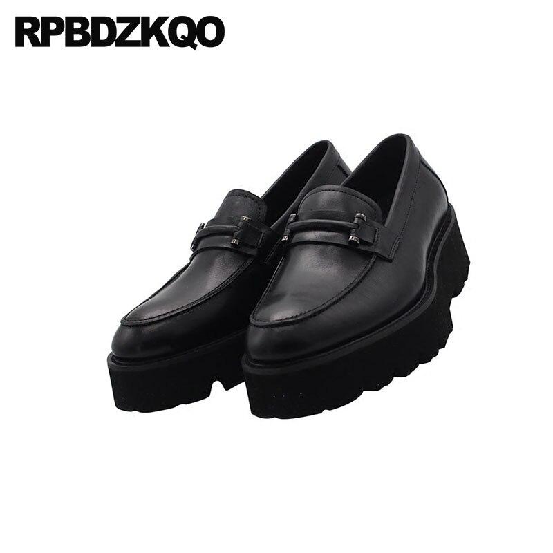 Kuh 2018 Schwarzes Mode Plattform Schuhe Müßiggänger Auf Slip Ferse Leder Marke Männer Atmungs Neue Hohe Beliebte Runway Sommer Creepers Schwarz wBpOxEnq