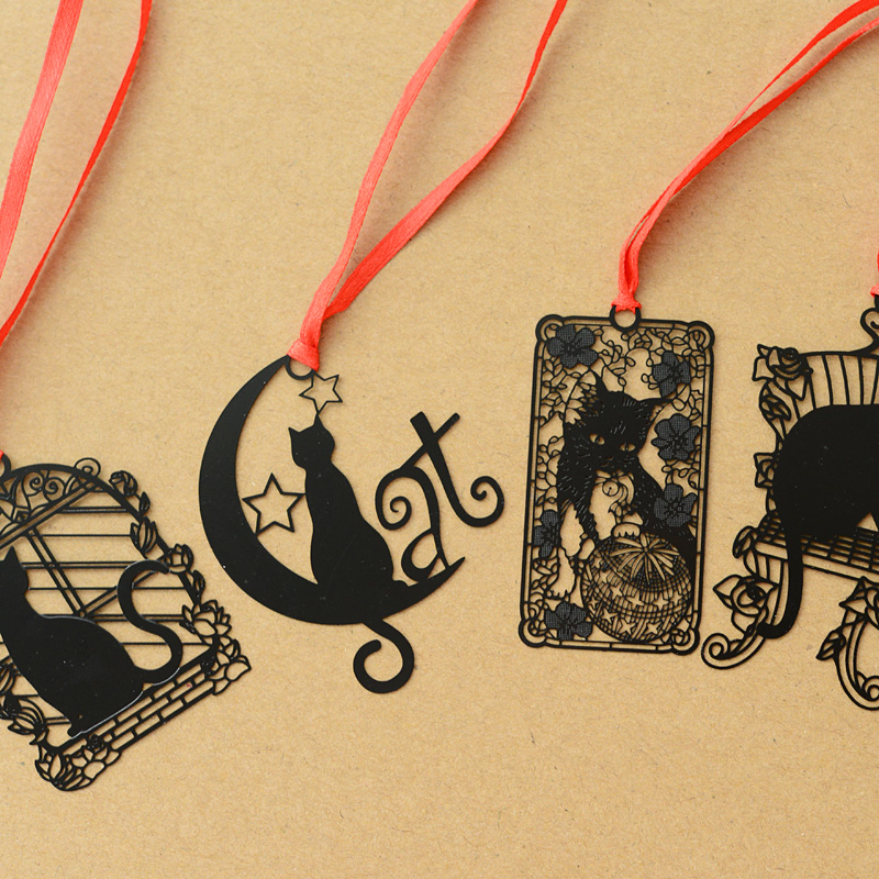 24 Pcs/Lot Black Cat Bookmarks With Red Rope Chinese Classical Metal Bookmark Stationery Office School Supplies Marcapagina F927
